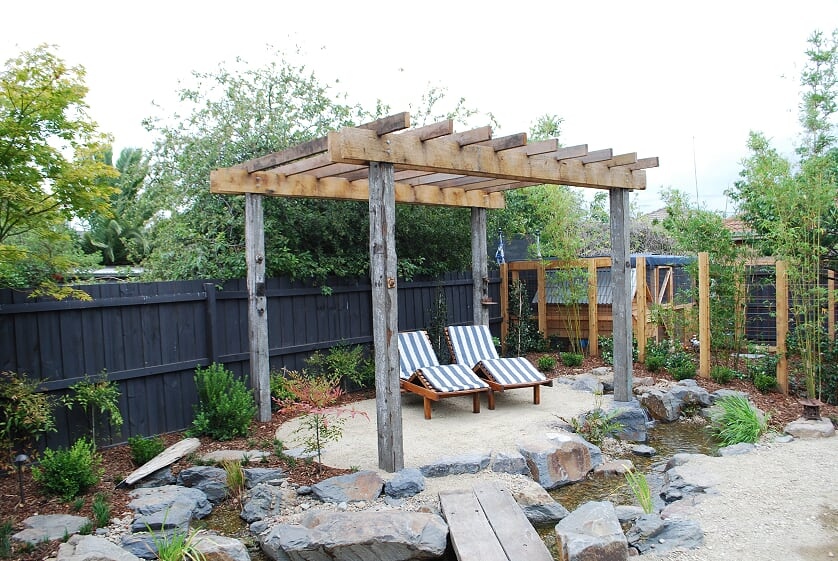 Recycled timber pergola