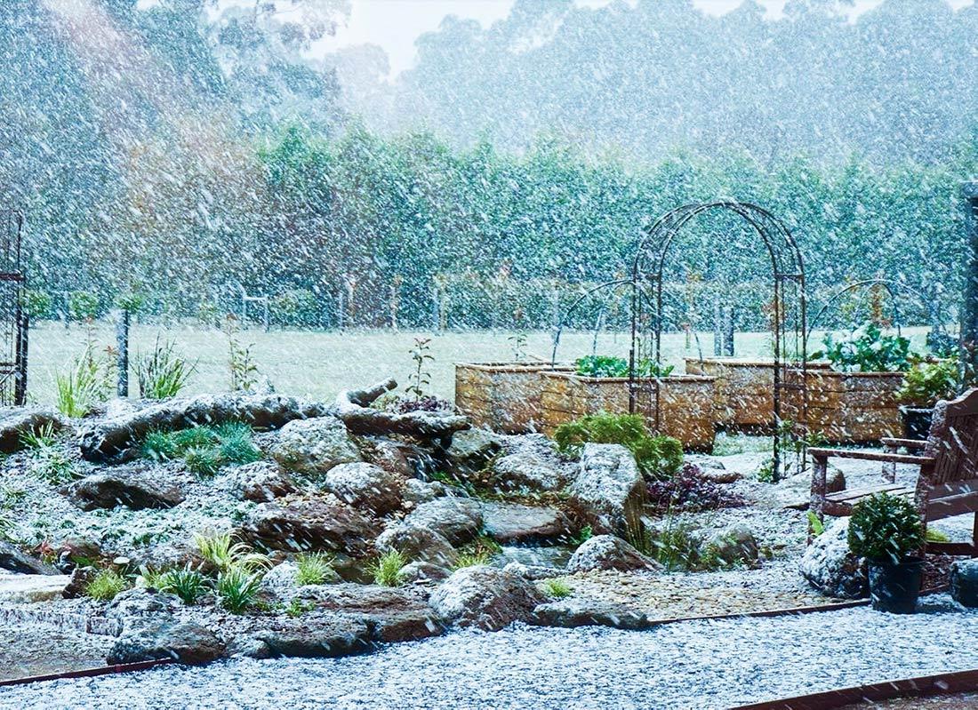 Garden pond in snow
