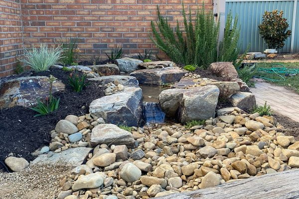 water and stone landscaping