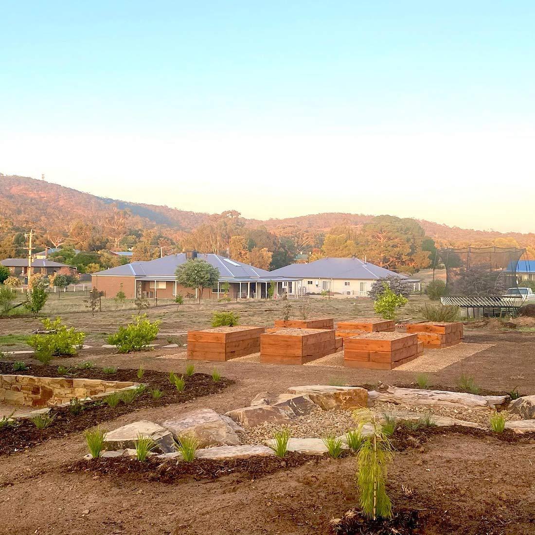 Dry creek and Vegetable garden