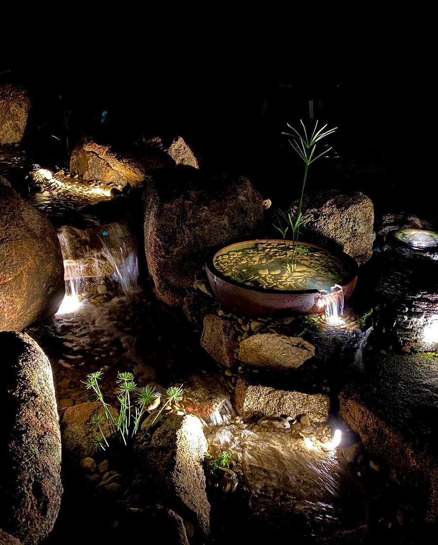 Waterfalls at night